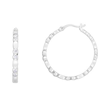 Silver 20x3mm Bezel CZ Accent Hoops