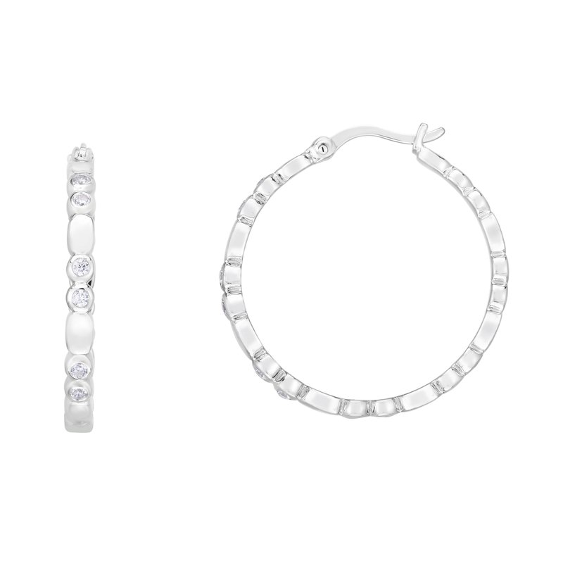 Royal Chain Silver 20x3mm Bezel CZ Accent Hoops