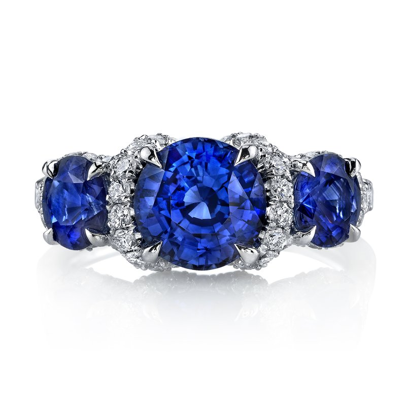 Omi Prive Sapphire and Diamond 3-Stone Ring