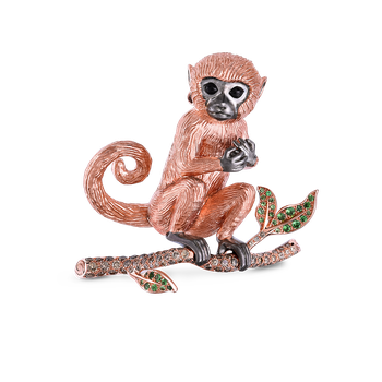 Monkey Broach With Brown Diamonds