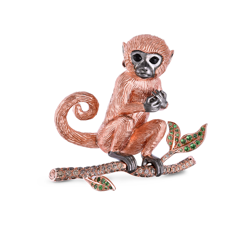 Roberto Coin Monkey Broach With Brown Diamonds