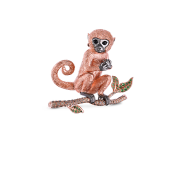 18KT GOLD MONKEY BROOCH WITH BROWN DIAMONDS