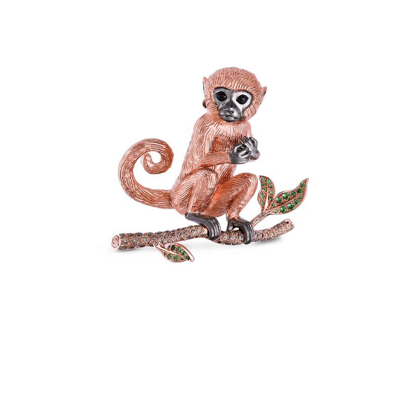 Roberto Coin 18KT GOLD MONKEY BROOCH WITH BROWN DIAMONDS