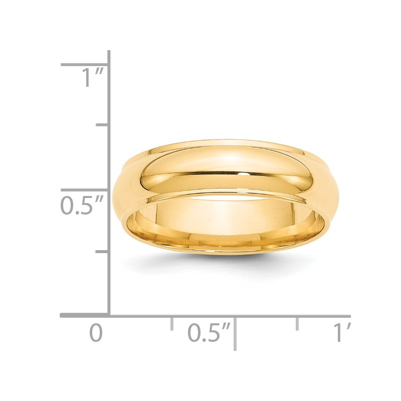 Quality Gold 14KY 6mm Half Round with Edge Band Size 10