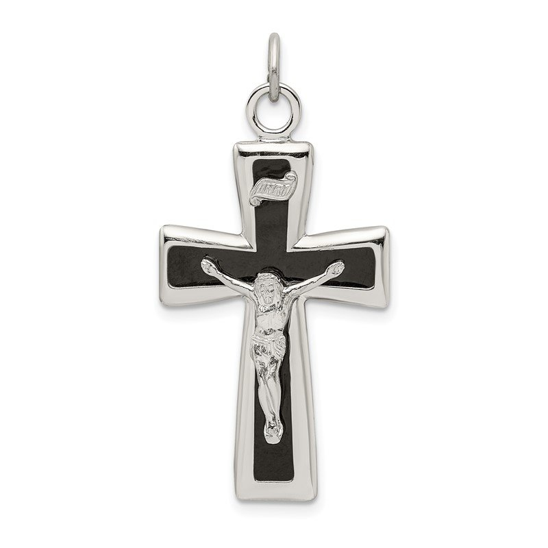 Quality Gold Sterling Silver Black Epoxy INRI Crucifix Pendant
