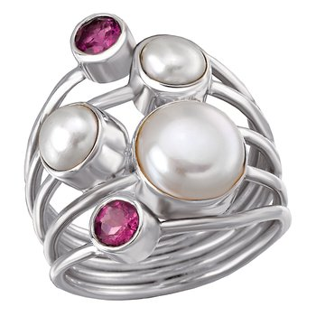 Ladies Pearl and Gemstone Ring