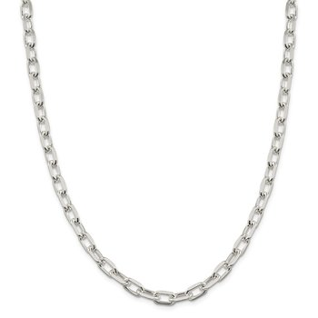 Sterling Silver 7.5mm Diamond-cut Long Link Cable Chain