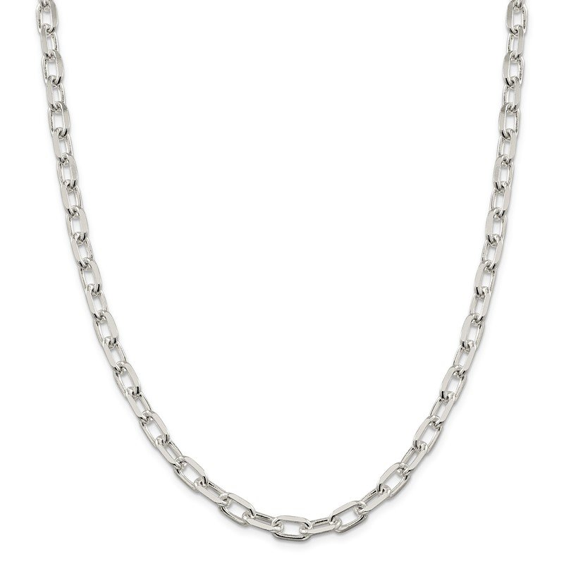 Quality Gold Sterling Silver 7.5mm Diamond-cut Long Link Cable Chain