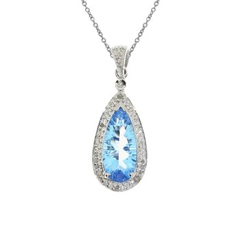 14k White Gold Blue Topaz Drop Pendant