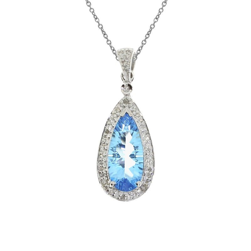 Color Merchants 14k White Gold Blue Topaz Drop Pendant