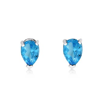 14k White Gold Blue Topaz Pear-Shaped Earring