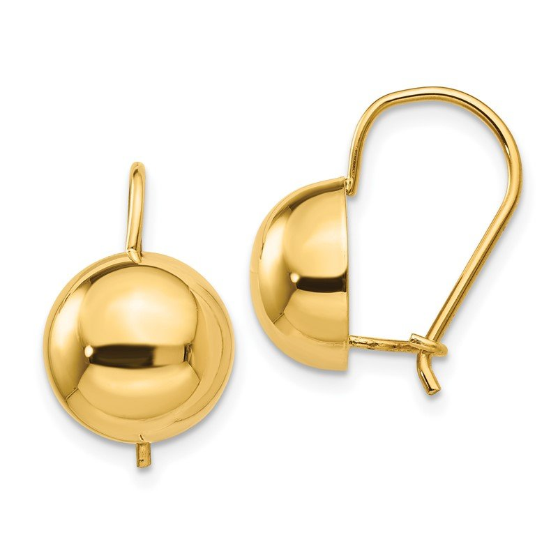 Quality Gold 14k 10.50mm Hollow Half Ball Earrings