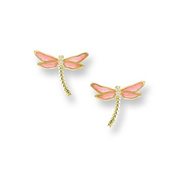 Pink Dragonfly Stud Earrings.18K -Diamonds - Plique-a-Jour