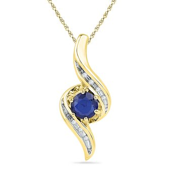 10kt Yellow Gold Womens Round Lab-Created Blue Sapphire Solitaire Diamond Pendant 3/4 Cttw