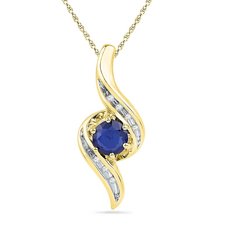 Kingdom Treasures 10kt Yellow Gold Womens Round Lab-Created Blue Sapphire Solitaire Diamond Pendant 3/4 Cttw