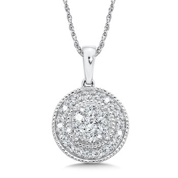Pave set Diamond Round Halo Pendant, 14k White Gold  (1/2 ct. tw.) JK/I1