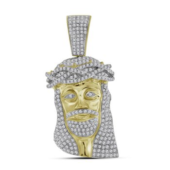 10kt Yellow Gold Mens Round Diamond Jesus Christ Messiah Head Charm Pendant 1-3/4 Cttw