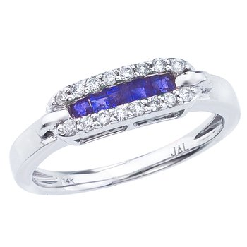 14k White Gold Square Sapphire and Diamond Ring