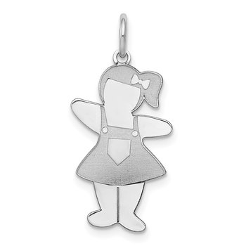 Sterling Silver Rhodium-plated Pocket Sized Cuddle Charm
