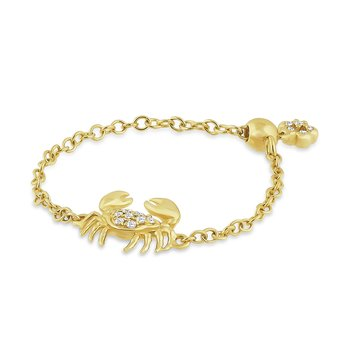 14K curb  adjustable bolo chain  crab ring with 15 diamonds 0.06CT