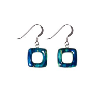 Open Square Sterling Silver Drop Earrings