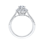 Promezza 14K White Gold Round Cut Diamond Floral Halo Engagement Ring