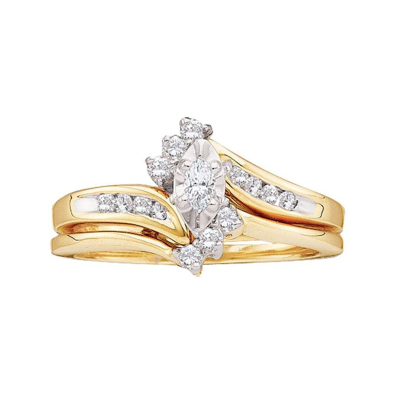 Kingdom Treasures 10kt Yellow Gold Womens Marquise Diamond Bridal Wedding Engagement Ring Band Set 1/4 Cttw