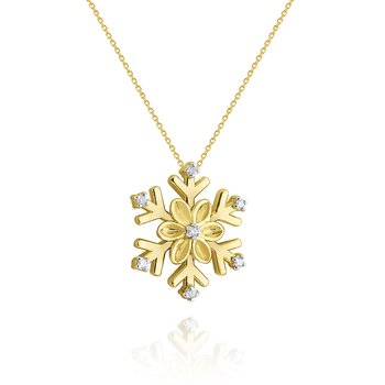 Gold and Diamond Snowflake Necklace