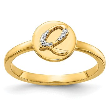 14k White Gold Diamond Initial Q Ring