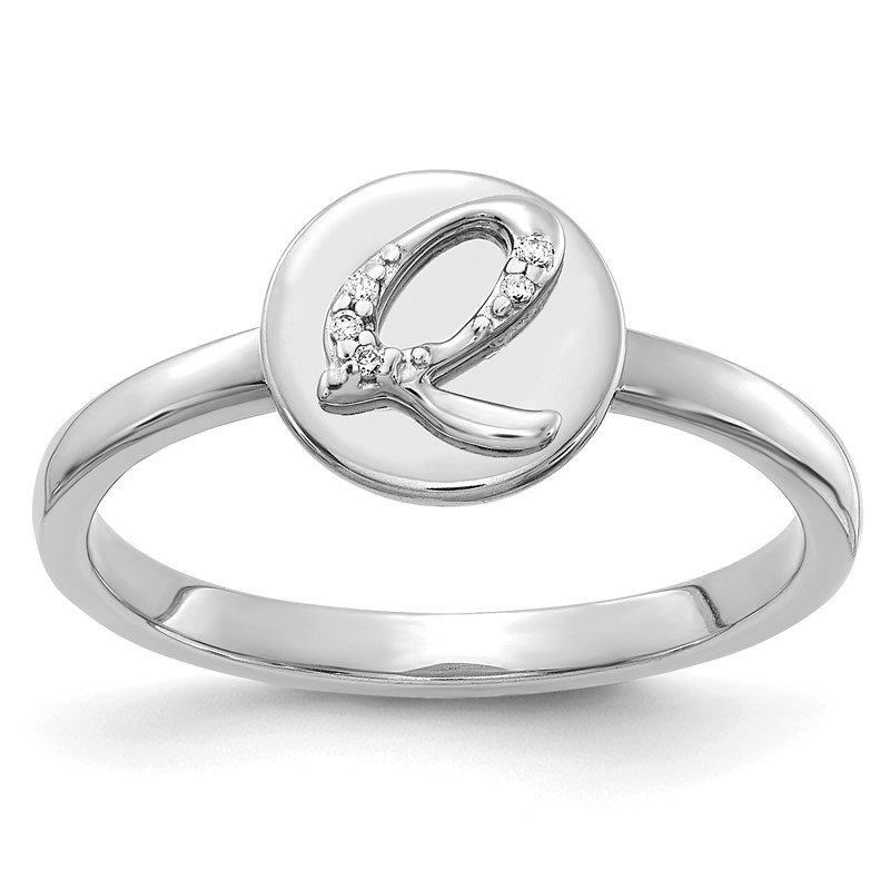 Arizona Diamond Center Collection 14k White Gold Diamond Initial Q Ring