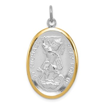 Sterling Silver Reversible Rhodium-plated & Vermeil St. Michael Medal