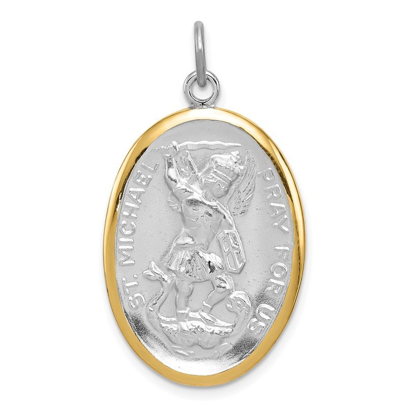 Quality Gold Sterling Silver Reversible Rhodium-plated & Vermeil St. Michael Medal