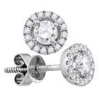 Gold-N-Diamonds, Inc. (Atlanta) 18kt White Gold Womens Round Diamond Convertible Circle Dangle Jacket Earrings 3/4 Cttw