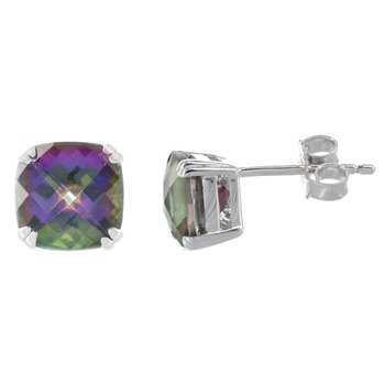 Sterling Silver Mystic Fire Topaz Stud Earrings