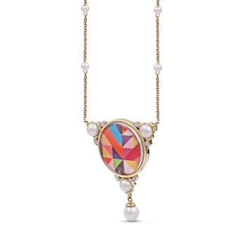 LuvMyJewelry  Vibrant Mosaic Pops of Passion Pearl & Diamond Necklace in Sterling Silver & 14 KT Yellow Gold Plating