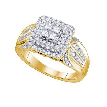 14kt Yellow Gold Womens Princess Diamond Cluster Bridal Wedding Engagement Ring 3/4 Cttw