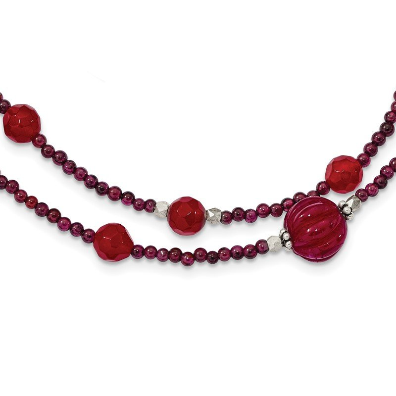 Quality Gold SS Red Avent./Garnet/Red Jade/Red Quartz 2-Strand w/2in ext. Necklace