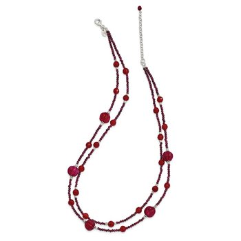 SS Red Avent./Garnet/Red Jade/Red Quartz 2-Strand w/2in ext. Necklace