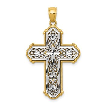 14k w/Rhodium Reversible Diamond-cut Filigree Cross Pendant