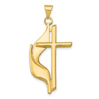 14K Polished Cross w/Drape Pendant