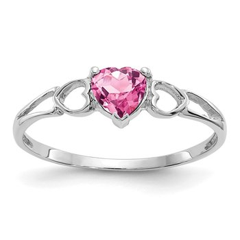 14k White Gold Pink Tourmaline Birthstone Ring