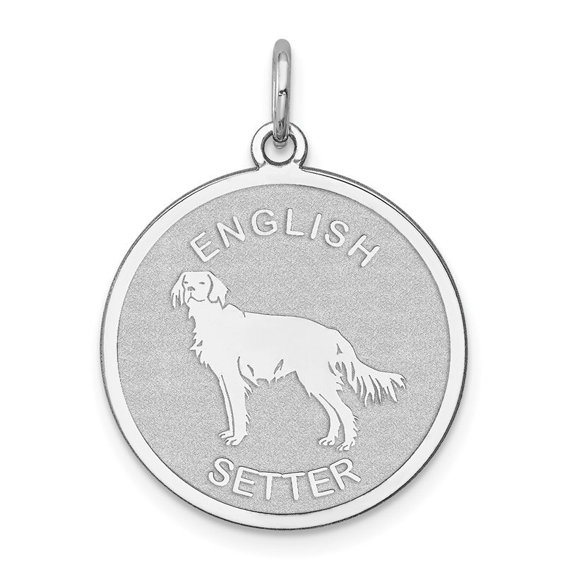 Quality Gold Sterling Silver Rhodium-plated English Setter Disc Charm