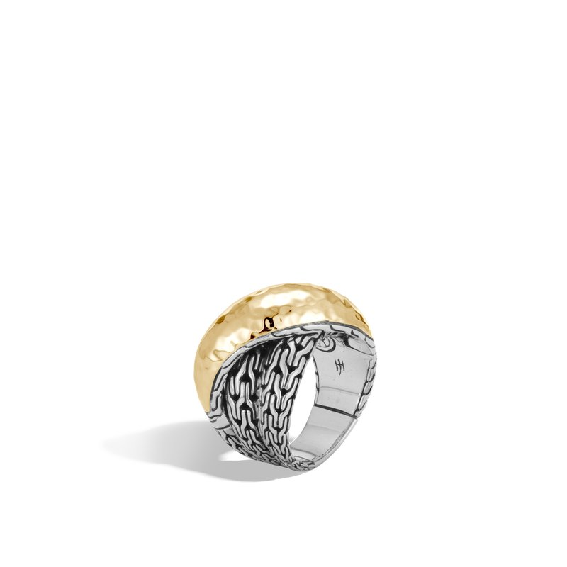 JOHN HARDY Classic Chain Overlap Ring in Silver and Hammered 18K Gold