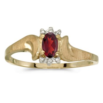 10k Yellow Gold Oval Garnet And Diamond Satin Finish Ring