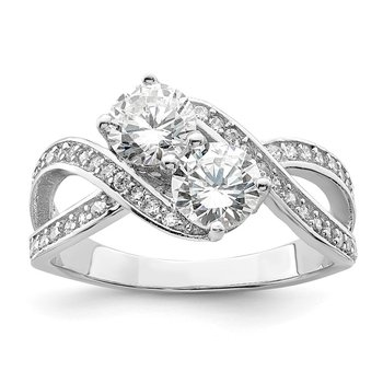 Sterling Silver Rhodium-plated CZ Two Stone Polished Ring