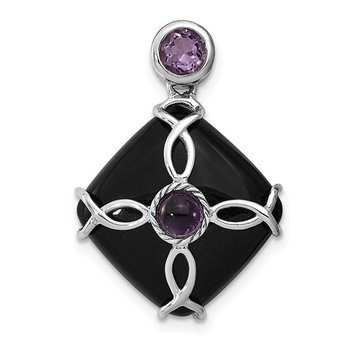 Sterling Silver Rhodium-plated Black Agate/ Amethyst Pendant