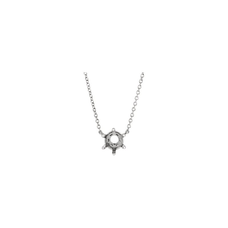 "14K White 5.5 mm Round Solitaire 18"" Necklace Mounting"