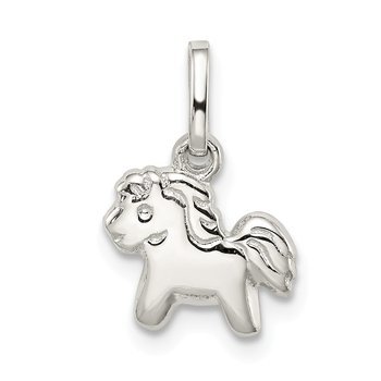 Sterling Silver RH Plated Child's Polished Pony Pendant