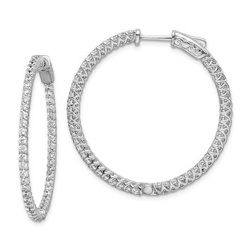 Sterling Silver CZ 76 stones In and Out Round Hoop Earrings