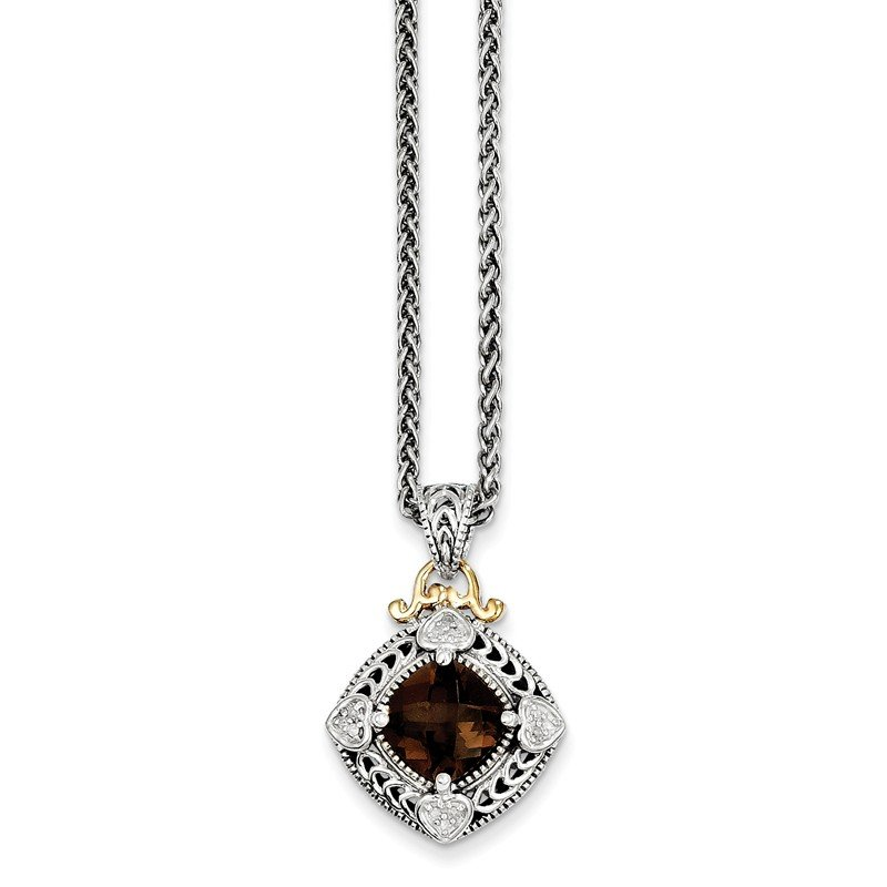 Shey Couture Sterling Silver w/14k Diamond & Smoky Quartz Necklace